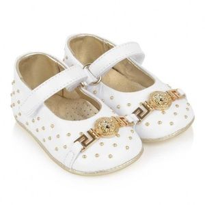 Young Versace Baby Girls White Leather Shoes